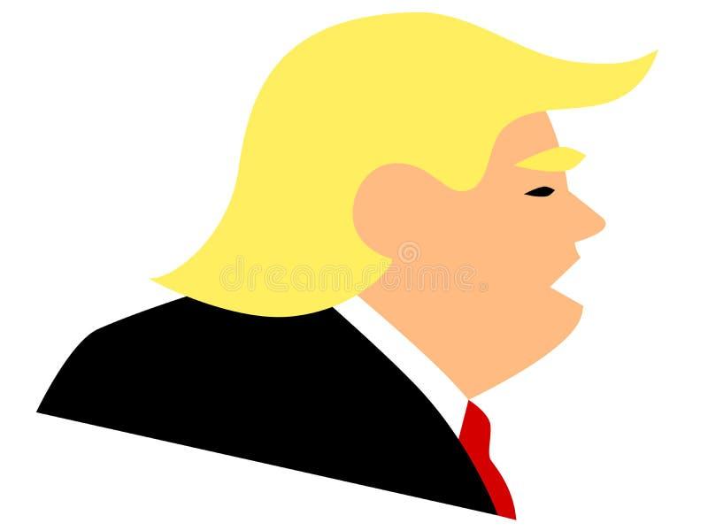 Enkel vektorillustration av den amerikanska presidenten Donald Trump royaltyfri illustrationer