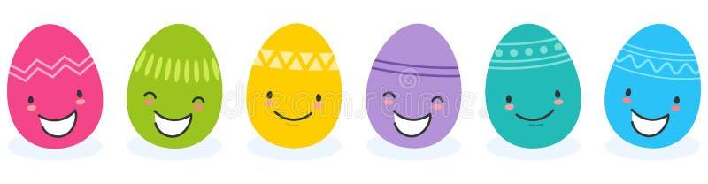 Enkel vektorillustration av sex färgrika plana designeaster ägg, tecknad filmtecken med roliga framsidor royaltyfri illustrationer