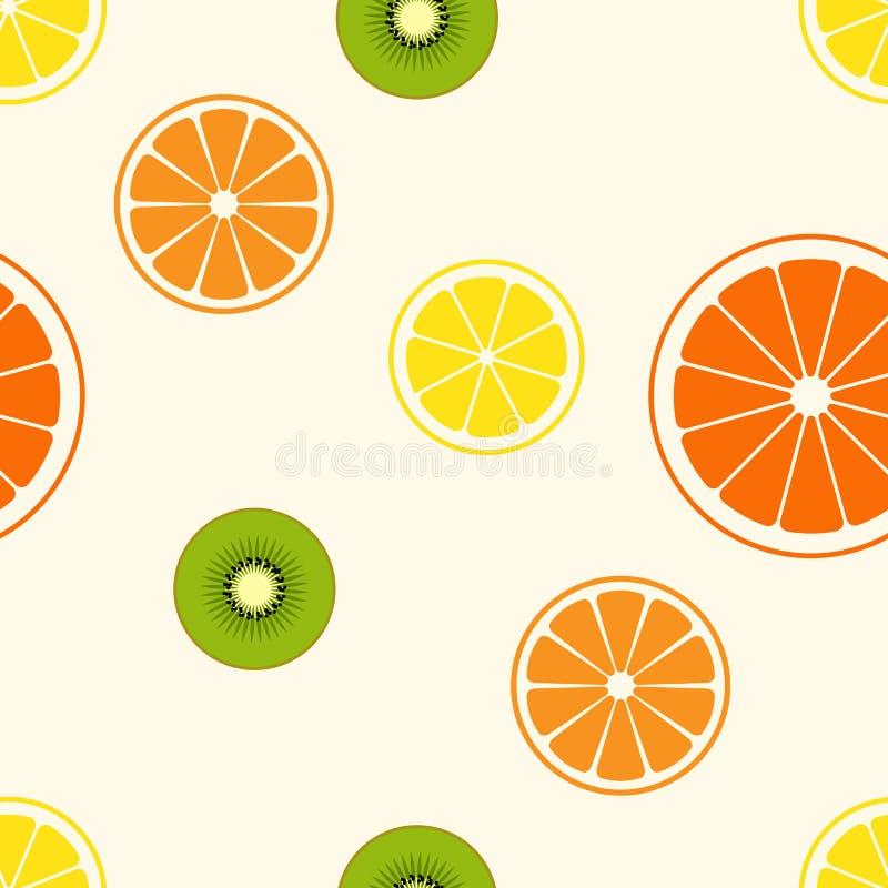 Enkel vektorillustration av skivacitrusfrukt - kiwi, citron, royaltyfri fotografi
