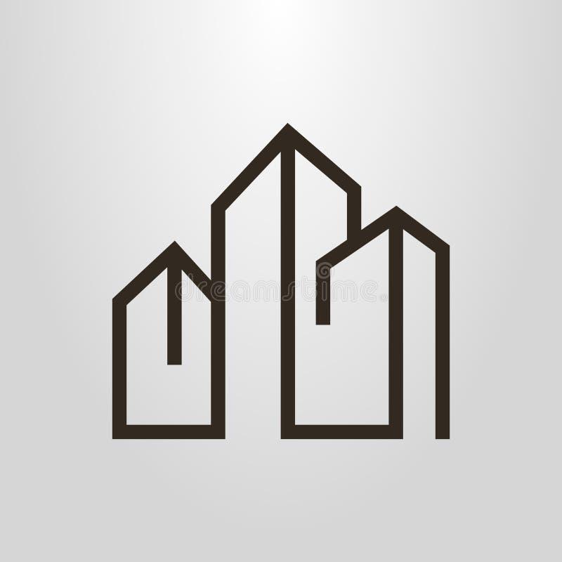 Enkel vektorlinje geometrisk pictogram för konst av tre höghus royaltyfri illustrationer