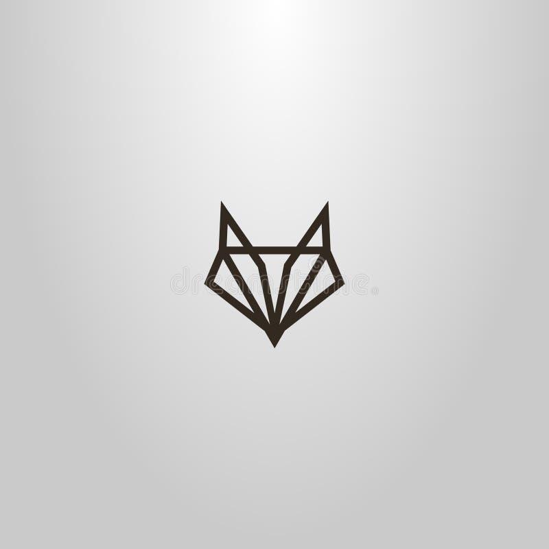 enkel vektorlinje geometriskt tecken för konst av ett abstrakt räv- eller varghuvud vektor illustrationer