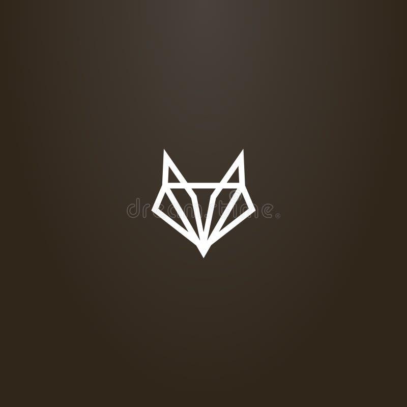 Enkel vektorlinje geometriskt tecken för konst av ett abstrakt räv- eller varghuvud royaltyfri illustrationer