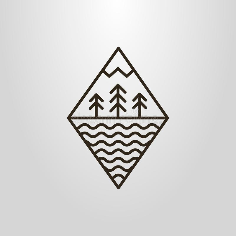 Enkel vektorlinje grometric pictogram för konst av skog-, moutain- och vattenvågor vektor illustrationer