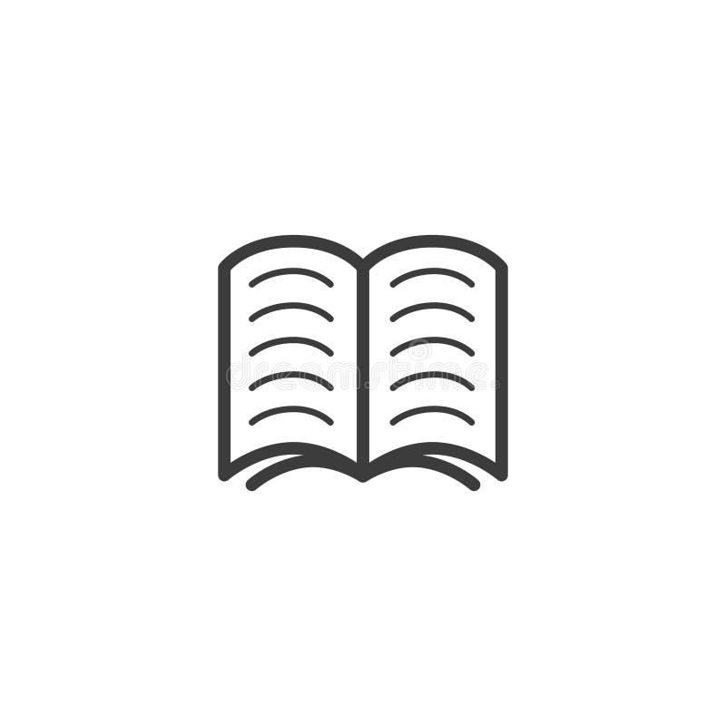 Enkel vektorlinje konstöversiktssymbol av den öppna boken vektor illustrationer