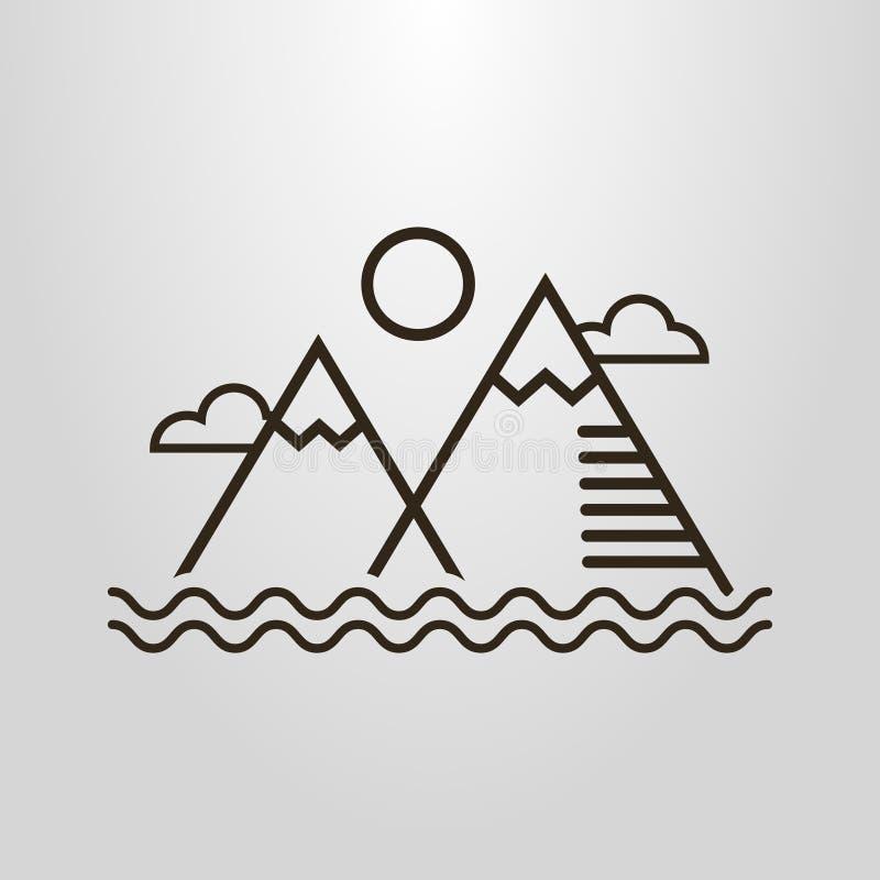 Enkel vektorlinje konstpictogram av det enkla landskapet med berg, vattenvågor, moln och solen stock illustrationer