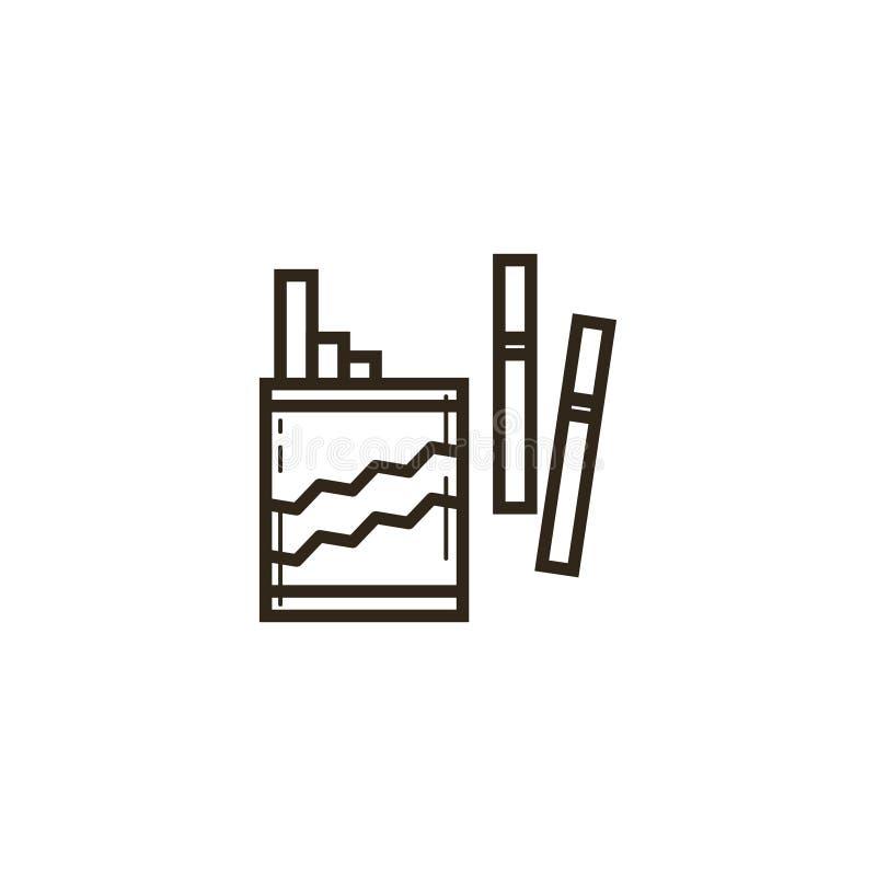 Enkel vektorlinje konstsymbolspacke av cigaretter royaltyfri illustrationer