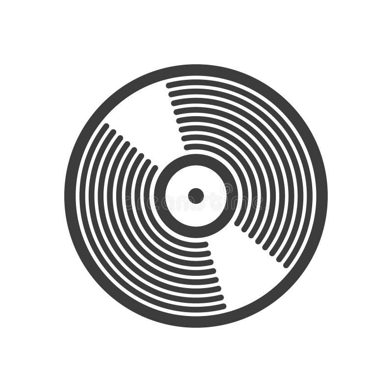 Enkel vektorlinje symbol för konstvinylrekord vektor illustrationer