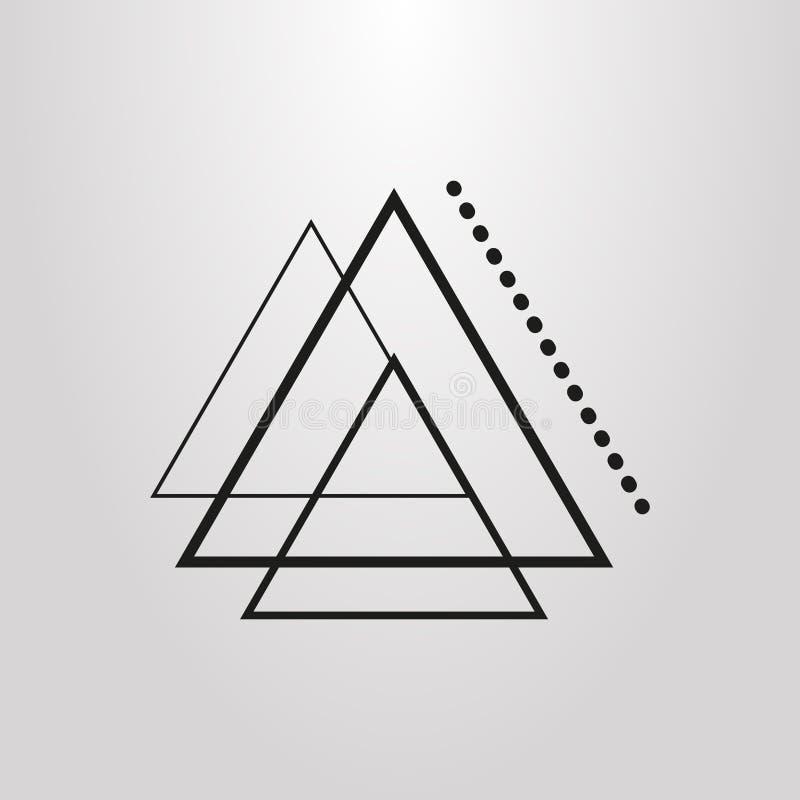 Enkel vektorlinje symbol för trianglar för konstabstrakt begrepp geometrisk vektor illustrationer