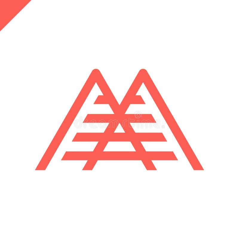 Enkel vektorlogo i en modern stil Överkant av berget i form av bokstav M royaltyfri illustrationer