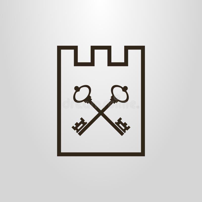 Enkel vektorpictogram av korsade tangenter i slottramen vektor illustrationer