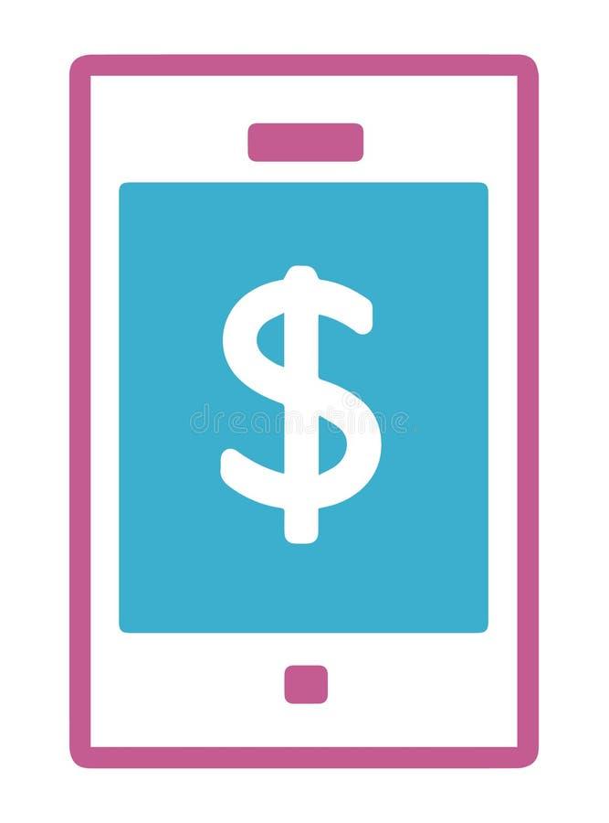 Enkel vektorsymbol av en mobiltelefon med dollartecknet stock illustrationer