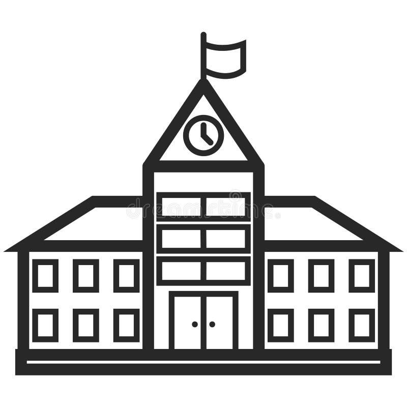 Enkel vektorsymbol av en skolabyggnad i linjen konststil Perfekt PIXEL Beståndsdel för grundläggande utbildning royaltyfri illustrationer