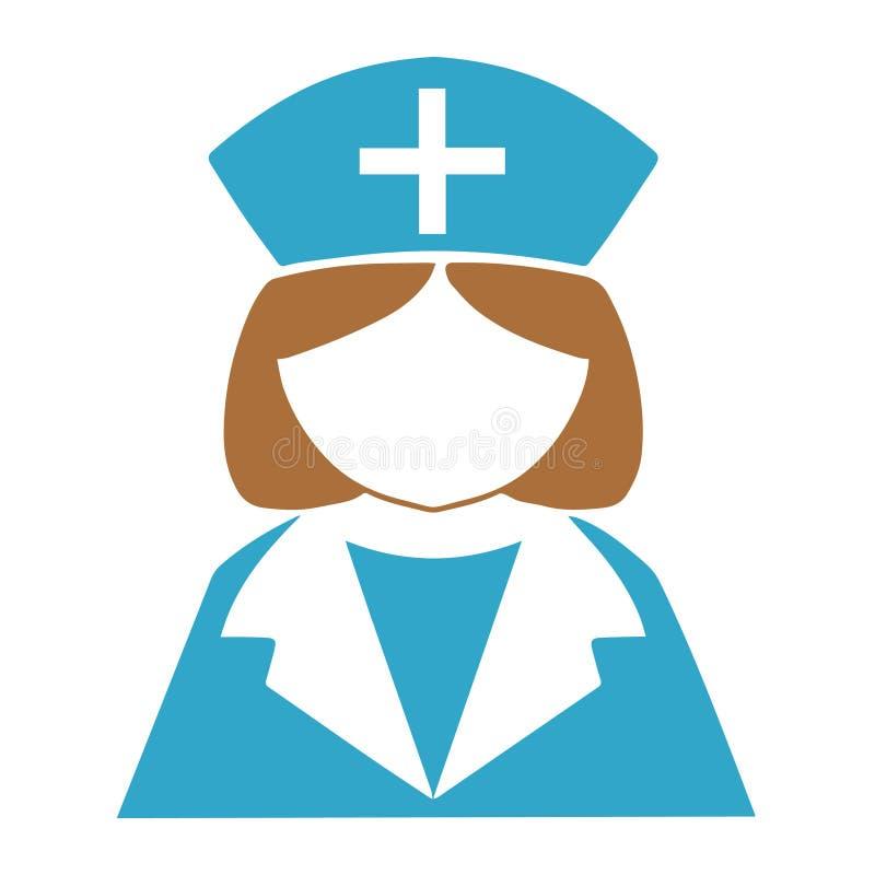 Enkel vektorsymbol av sjuksköterskan med den blåa sjuksköterskahatten stock illustrationer
