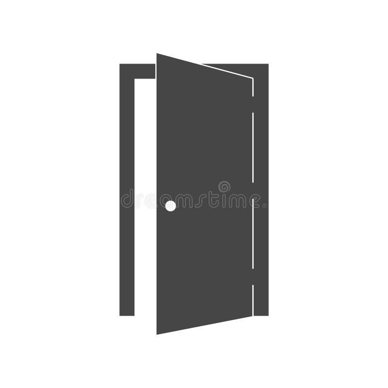 Enkel vektorsymbol för öppen dörr på vit stock illustrationer