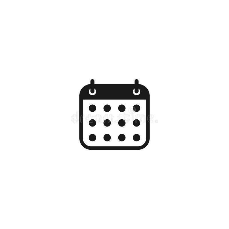 Enkel vektorsymbol för kalender Rund symbol för kalendersvartskåra vektor illustrationer