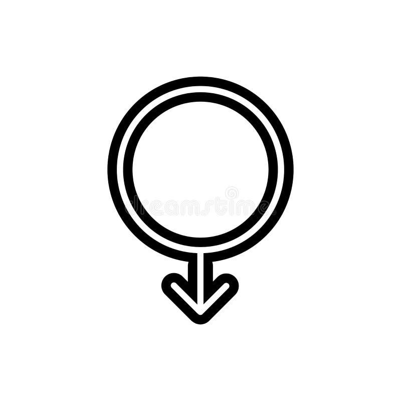 Enkel vektorsymbol för manligt symbol Svartvit illustration av genustecknet Linjär symbol för översikt royaltyfri illustrationer