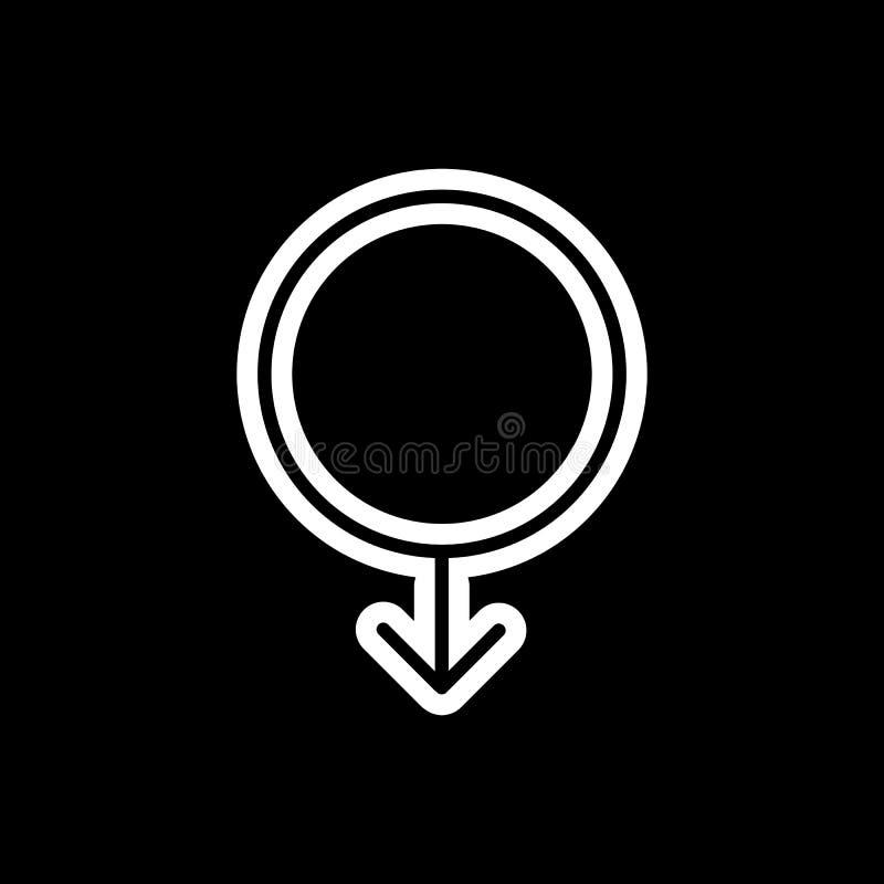 Enkel vektorsymbol för manligt symbol Svartvit illustration av genustecknet Linjär symbol för översikt vektor illustrationer