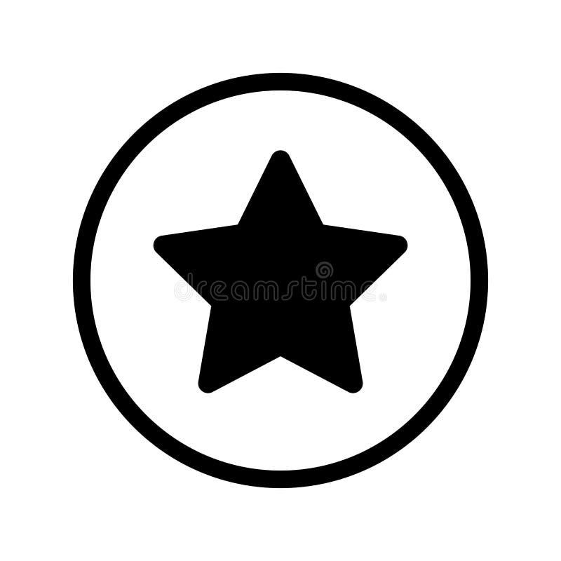 Enkel vektorsymbol för stjärna Svartvit illustration av stjärnan Fast linjär symbol stock illustrationer