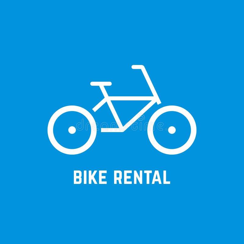 Enkel vit cykelhyrasymbol stock illustrationer