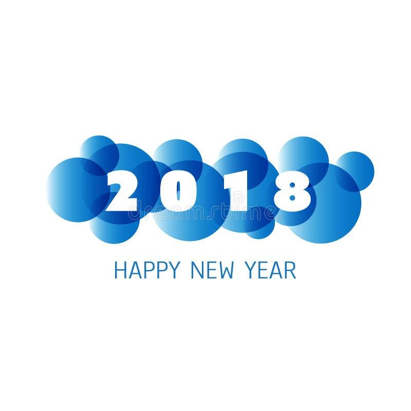 Enkel vit för kort-, räknings- eller bakgrundsdesign för nytt år mall för blått och - 2018 vektor illustrationer