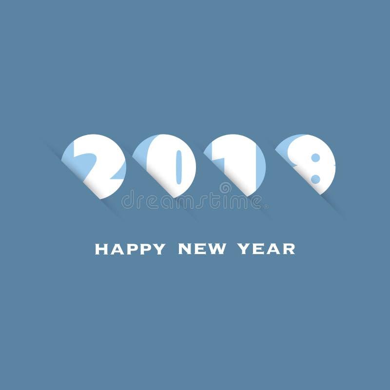 Enkel vit och blå för kort-, räknings- eller bakgrundsdesign för nytt år mall - 2018 royaltyfri illustrationer