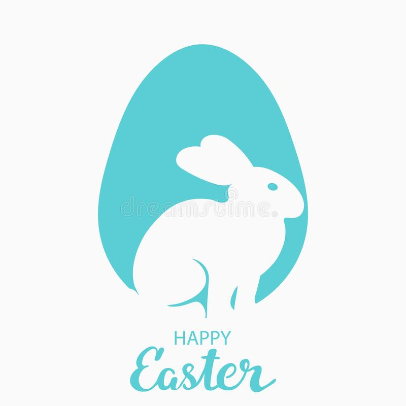 Enkel vykort för påsk Översikter av en hare i profil mot ett blått ägg Med den lyckönsknings- inskriften vektor illustrationer