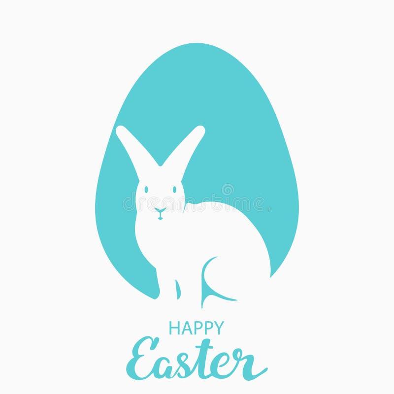 Enkel vykort för påsk Översikter av en hare på en bakgrund av det blåa ägget Med den lyckönsknings- inskriften stock illustrationer