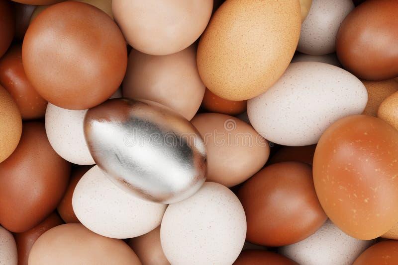 Enkelt ägg i vit guld, begreppet av egenart, exclusivity och framgång i liv Unikt vitt guld- ägg vitt royaltyfria foton