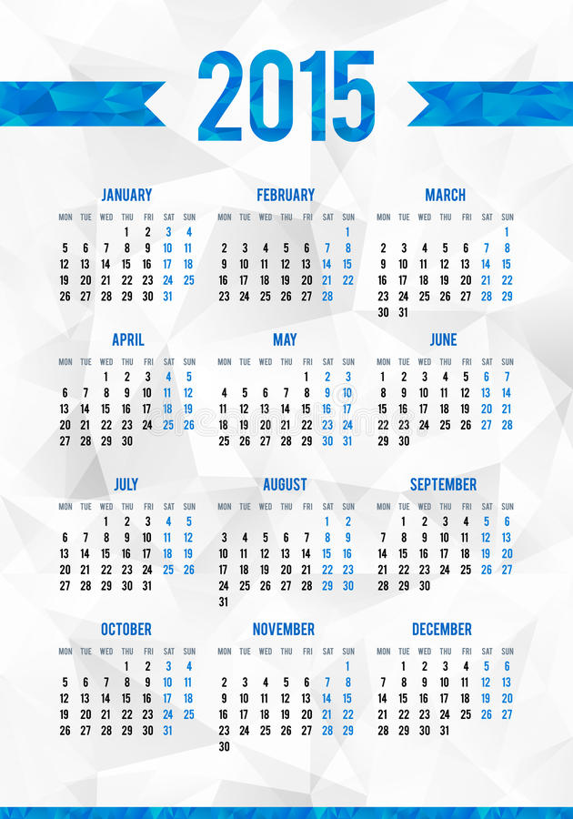 Enkelt 2015 år europeiskt kalenderraster royaltyfri illustrationer