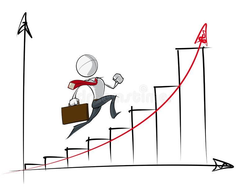 Enkelt affärsfolk - diagram för exponential- tillväxt royaltyfri illustrationer