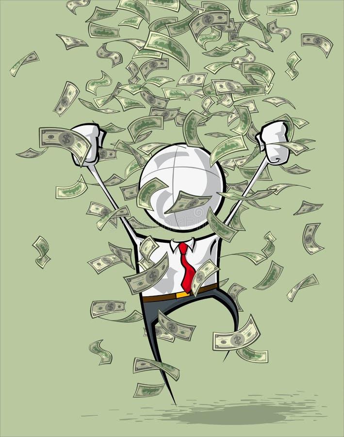 Enkelt affärsfolk - pengarregn royaltyfri illustrationer