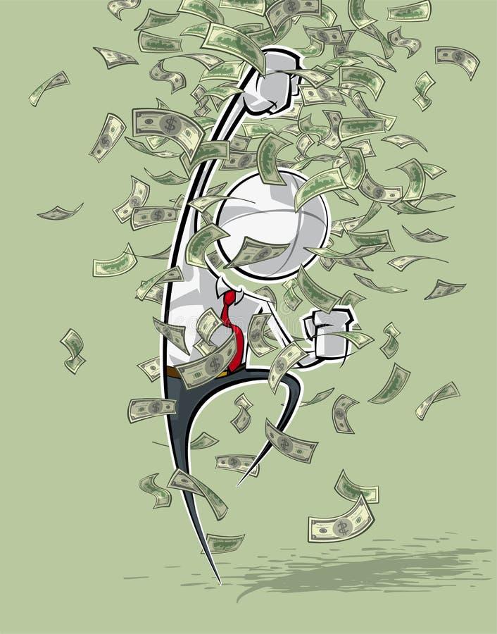 Enkelt affärsfolk - segerrikt pengarregn vektor illustrationer