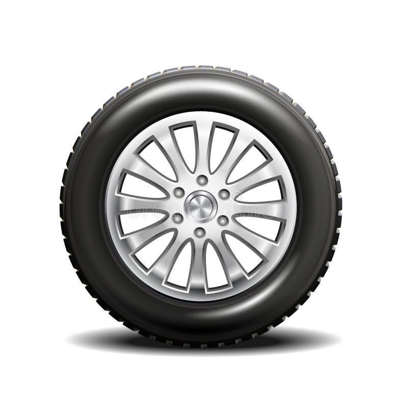 Enkelt bilgummihjul stock illustrationer