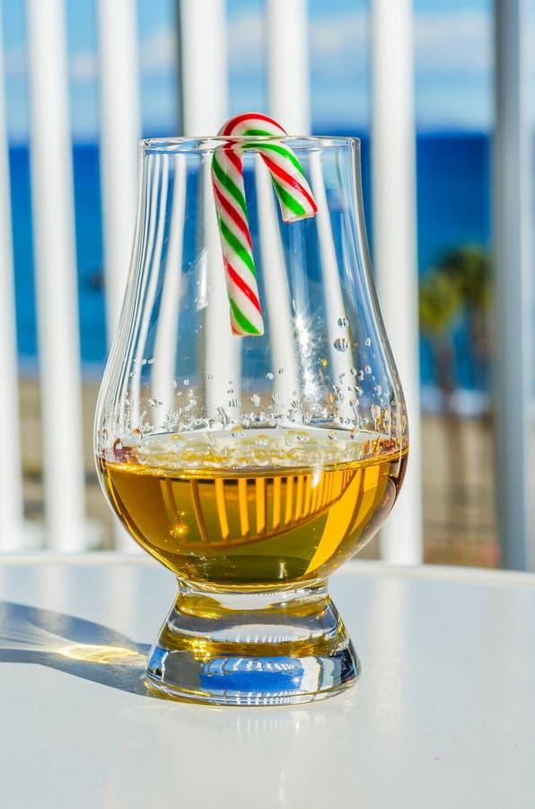 Enkelt exponeringsglas för maltwhisky med godisrottingen, symbolet av Christm royaltyfri foto