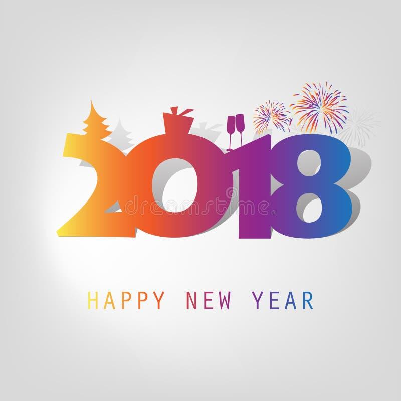 Enkelt färgrikt kort för nytt år, räknings- eller bakgrundsdesignmall med julgranen, gåvaask och att dricka exponeringsglas och f vektor illustrationer