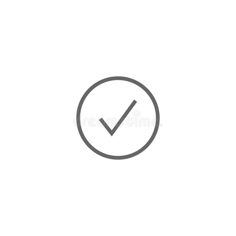 Enkelt för plan symbol för vektorkontrollcheckmark runt vektor illustrationer