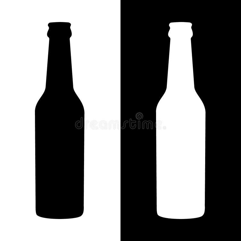 Enkelt flaskkontur Svartvita variationer vektor illustrationer