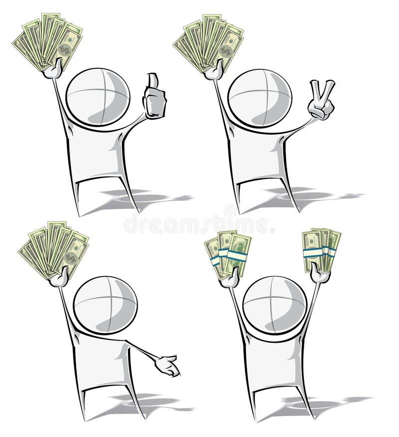 Enkelt folk - pengar vektor illustrationer