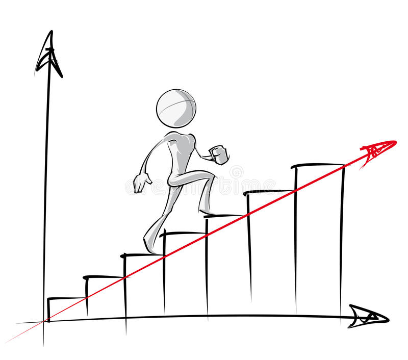 Enkelt folk - stadigt tillväxtdiagram stock illustrationer