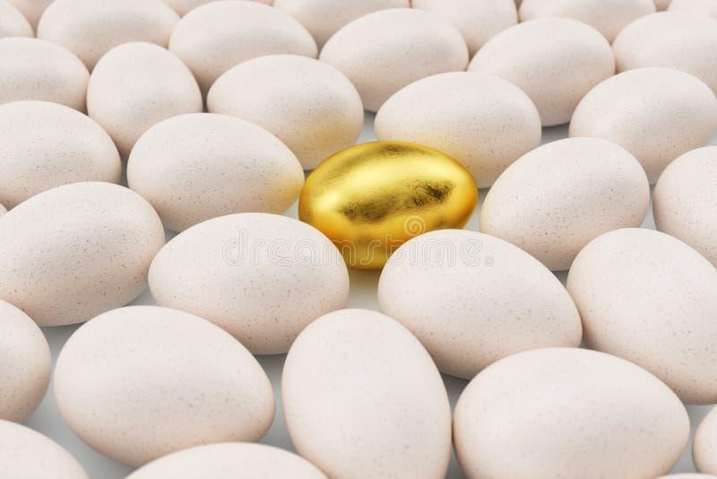 Enkelt guld- ägg runt om vita ägg, begreppsegenart, exclusivity och framgång i liv guld- unikt för ägg guld- arkivbild