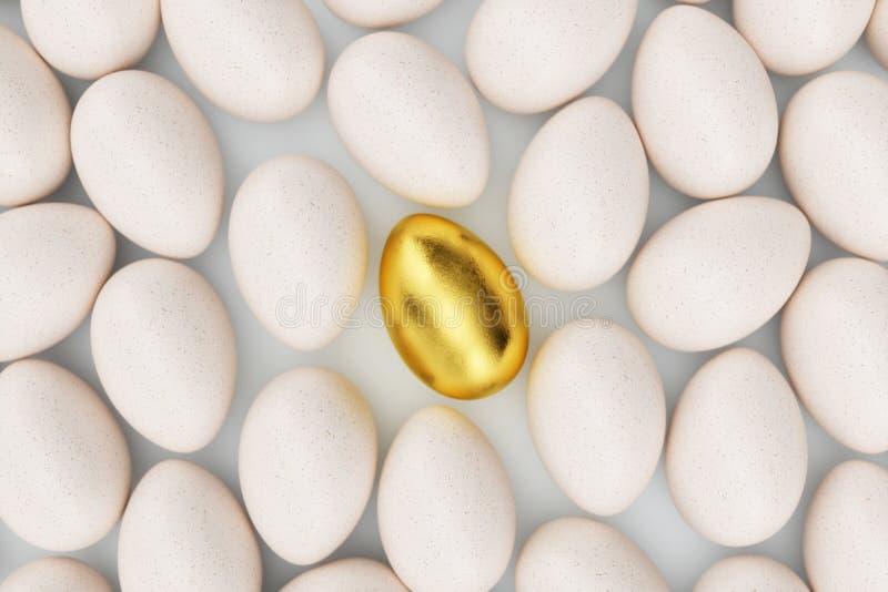 Enkelt guld- ägg runt om vita ägg, begreppsegenart, exclusivity och framgång i liv guld- unikt för ägg guld- arkivfoton