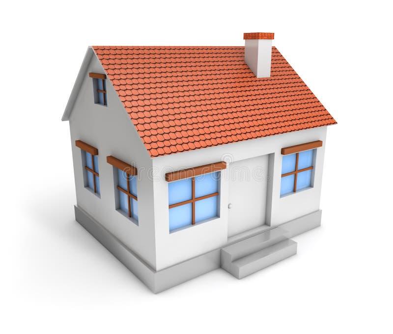 enkelt hus 3D stock illustrationer