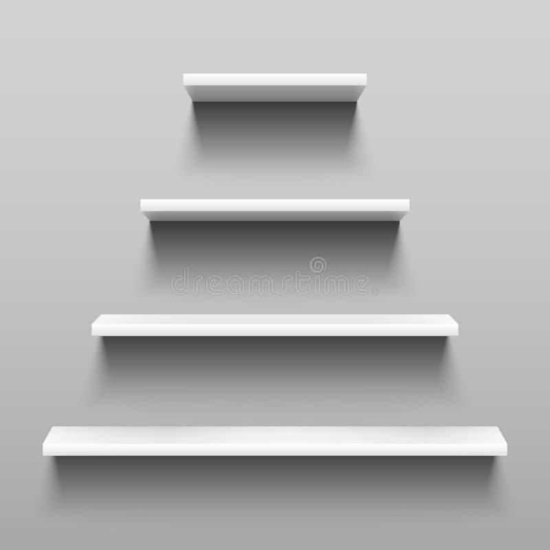 Enkelt hyllor på den vita väggen för inomhus inredesign Återförsäljnings- hylla 3d med skuggavektoruppsättningen royaltyfri illustrationer