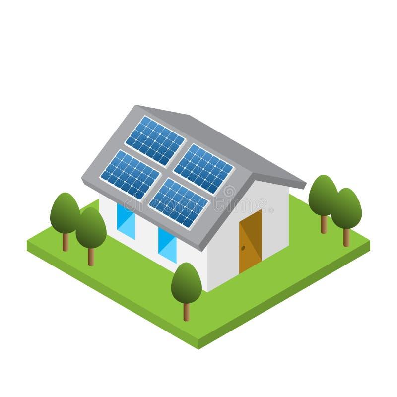 Enkelt isometriskt hus med sol- takpaneler stock illustrationer
