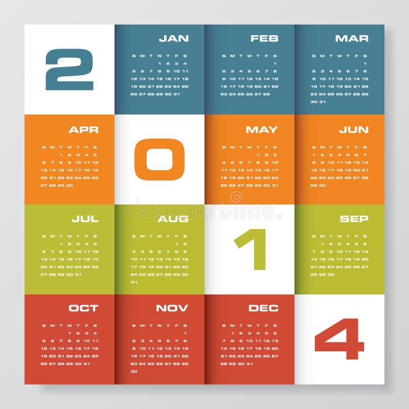 Enkelt   kalender 2014 arkivfoton