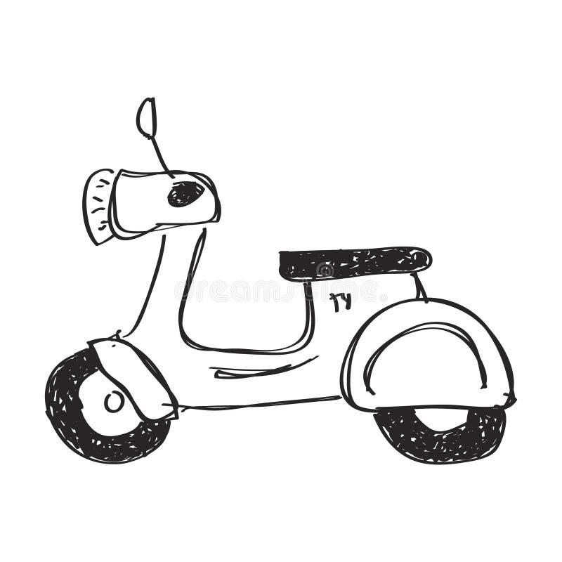 Enkelt klotter av en sparkcykel royaltyfri illustrationer