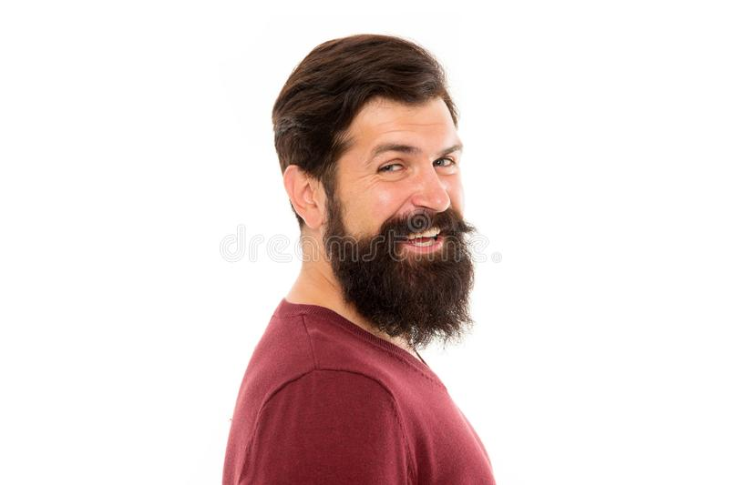 Enkelt krävt för att inte raka Skägghår växer på olika hastigheter Man med det långa skägget och mustasch isolerad vit fotografering för bildbyråer