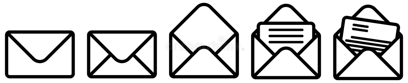 Enkelt kuverttecken, stängt, öppnat och med dokumentversion Kan användas som post-/emailsymbol royaltyfri illustrationer