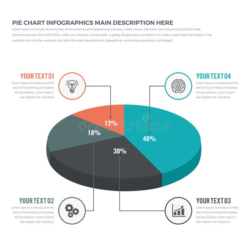 Enkelt modernt pajdiagram Infographics arkivbilder