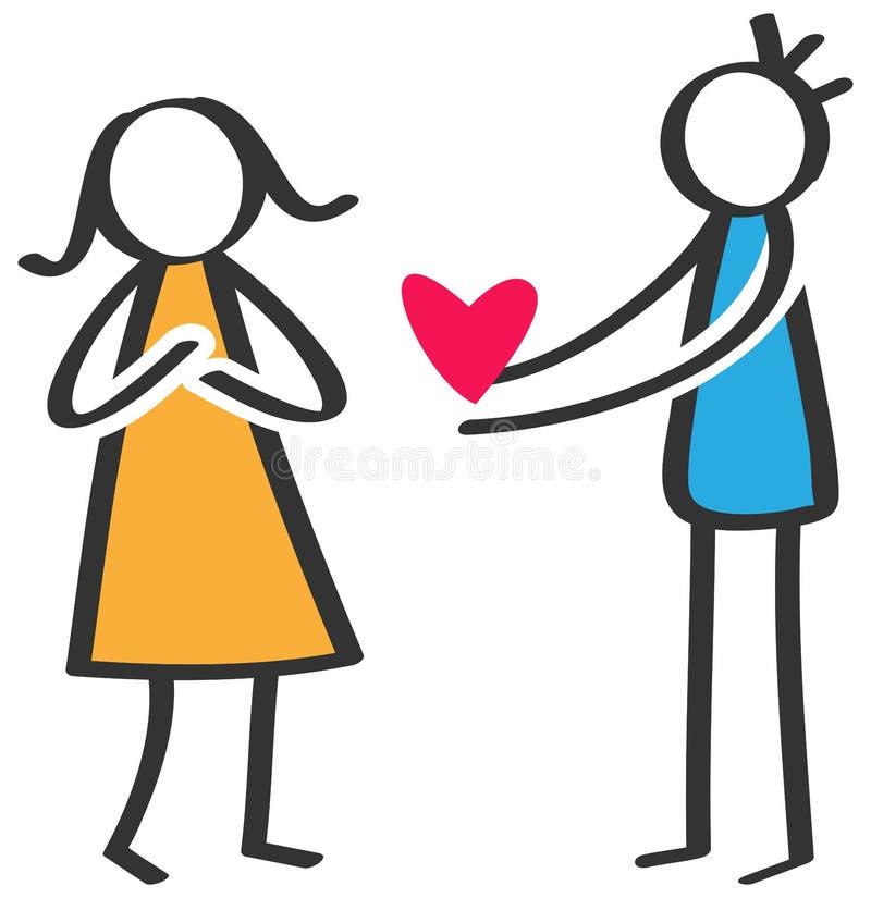 Enkelt pinnediagram man som ger förälskelse röd hjärta till kvinnan, dag för moder` s, förklaring av förälskelse som isoleras på  royaltyfri illustrationer